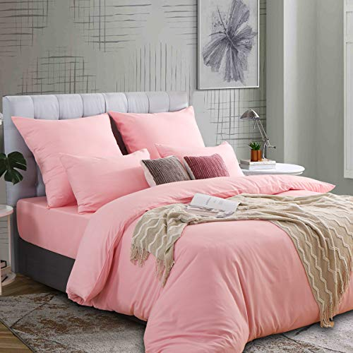 Ruikasi - Juego de ropa de cama (220 x 240 cm), color rosa