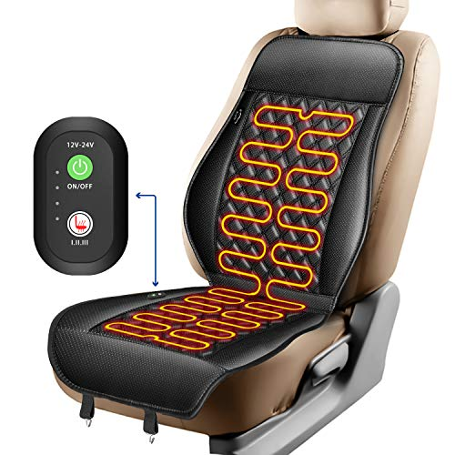 ELUTO Heated Seat Covers for Cars 12V/24V Car Seat Warmer with 3 Levels Full Back and Seat Heating Heated Car Seat Pad Heated Seat Cushion for Car Truck Home Office BA1001