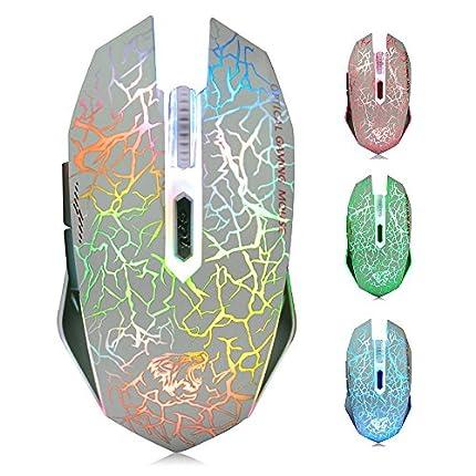 TENMOS M2 Inalámbrico Ratón, Recargable con Silencioso Ratón óptico Gaming Wireless Mouse con Receptor Nano 6 Botones para Ordenador Mac Notebook Desktop Laptop