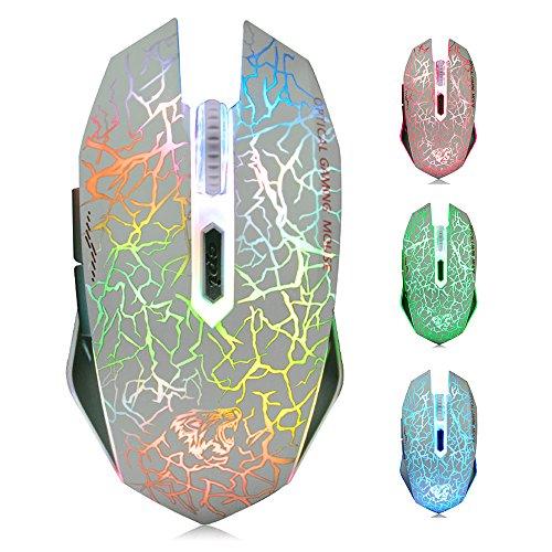 ExtraFind M2 Mouse Ricaricabile Wireless, Ottico USB Gaming Silenzioso Mouse senza fili con 6 Pulsanti con LED 7 Colors per Mac Notebook Computer Portatile