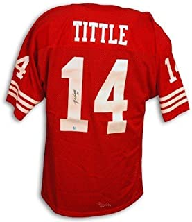 Autographed Y.A. Tittle New York 49ers Throwback Red Jersey - COA Included Signature - COA Included Signature