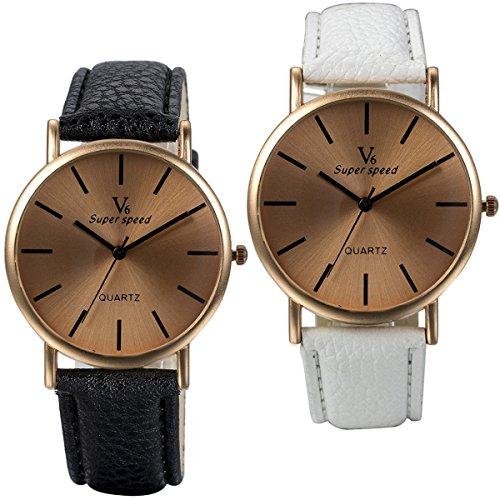 JewelryWe 2pcs Herren Damen Armbanduhr, Einfach Elegant Business Casual Analog Quarz Leder Armband Uhr mit Rund Rose Gold Zifferblatt, Schwarz Weiss