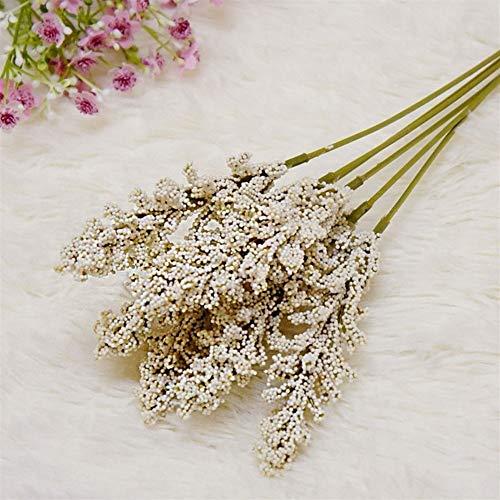 Kunstblumen 6 Teile/Paket Künstliche Vanille Mini Schaum Berry Spike Künstliche Blumen Bouquet for Pflanzen Wanddekoration Getreide Pflanze Haufen Grünpflanzen (Color : White)