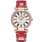 RC ROYAL CROWN Women's Quartz Watch Fashion Leather Rose Gold-Tone Rhinestone Watch Jewelry Waterproof Wrist Watches