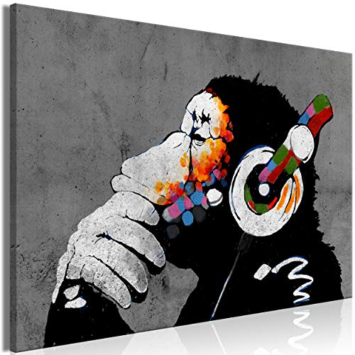 decomonkey Bilder Banksy Dj Afee 120x80 cm 1 Teilig Leinwandbilder Bild auf Leinwand Vlies Wandbild Kunstdruck Wanddeko Wand Wohnzimmer Wanddekoration Deko Gorilla Tiere AFFE mit kopfhörer