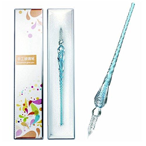 HELLOSUN ガラスペン 万年筆 透明 サインペン 文房具 ビジネスギフト なめらかな筆感 (スカイブルー)
