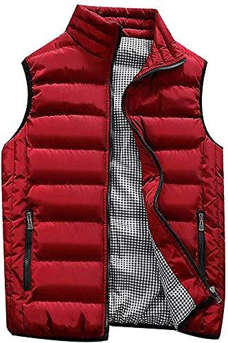 Abrigos Hombre Invierno,Hombre Sin Mangas De Plumas Chaquetas Invierno Calor Chalecos Acolchado Cazadoras (Rojo, 2XL)