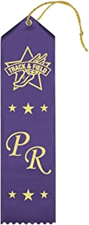 Personal Record (Dark Purple) Track & Field Award Ribbons - 25 Count Bundle – Includes Event Card and String – Made in The USA