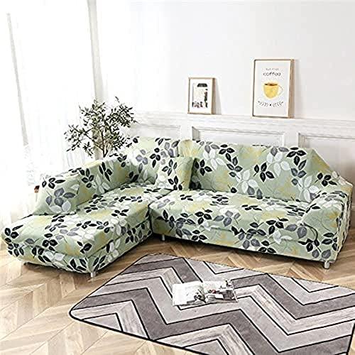 POPXP Fundas de sofá elásticas geométricas para sofá de 1 2 3 4 plazas, fundas elásticas para sofá en forma de L, fundas de sofá de esquina seccional Chaise longue A17 4 plazas lavable