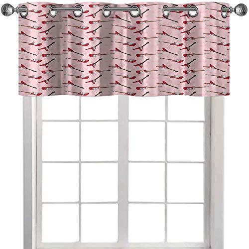 cenefas diferentes siluetas de guitarra eléctrica sobre rosa con signos de música y paz de 36 pulgadas de ancho x 18 pulgadas de largo cenefas para ventanas de dormitorio, rosa pálido, marrón