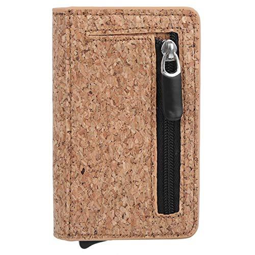 Monedero con bloqueo RFID, billetera multifunción unisex de estilo europeo y americano, billetera de cuero PU, hebilla magnética antirrobo para viajes(Bark pattern apricot)