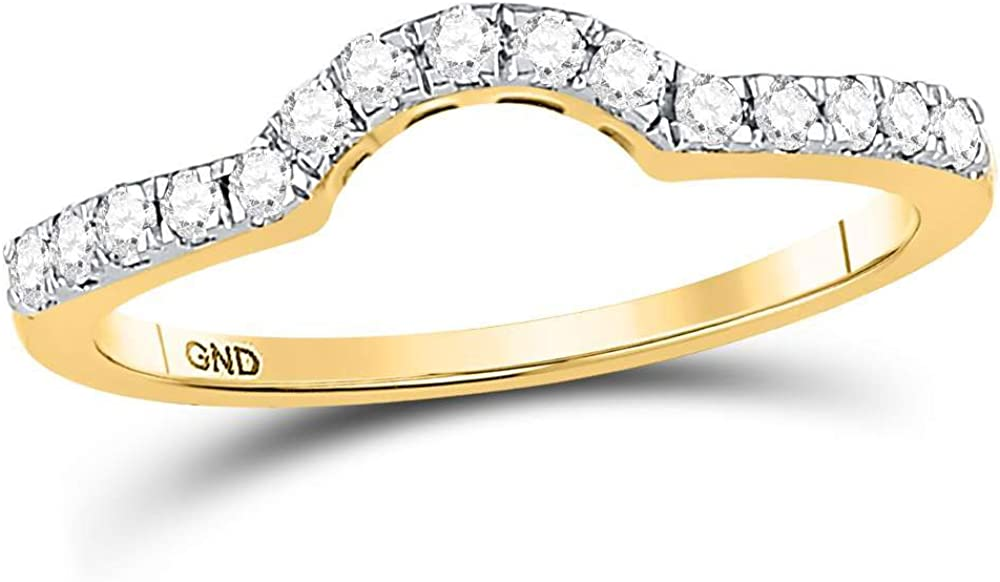14kt Yellow Gold Womens Round Diamond Curved Wedding Enhancer Band Ring 1/4 Cttw