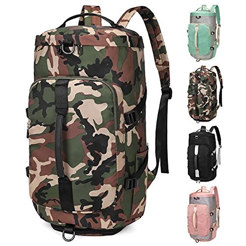 FEDUAN 3 in 1 borsa sportiva con funzione zaino donna uomo bagaglio a mano borsa a tracolla borsa da viaggio aereo borsa da palestra zaino da scuola borsone da viaggio (Mimetico)