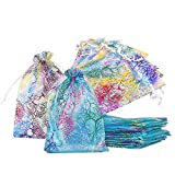 Bolsitas Para Regalos Coral Pattern Organza Bags, Bolsas para Joyas Bolsas Transparentes Dulces de Regalo,Wedding Favor Bags Bolsas de Regalo para Guardar 40Pcs(13x18cm)