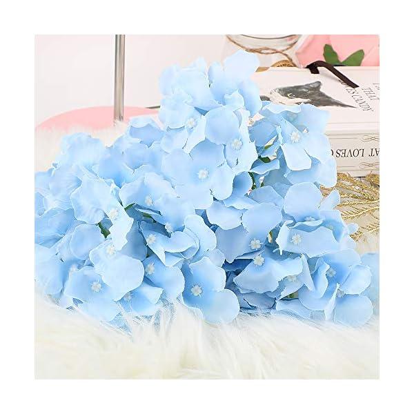 VINFUTUR Flores Artificiales Hortensia Azul de Seda, 10pcs Ramos de Flores Artificiales Decorativas de Jarrón Mesa+10pcs…