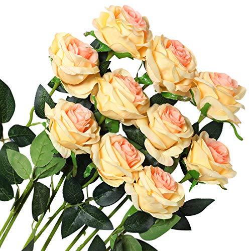 Veryhome 10 Stücke Künstliche Rosen Silk Blumen Gefälschte Flowers Braut Hochzeit Bouquet Für Hausgarten Geburtstag Party Home Wedding Dekor (Champagner - Blühende Rosen)