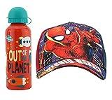 HOVUK® Marvel Spiderman Gorra de béisbol de algodón con fuera de este planeta botella de agua de aluminio rojo de 500 ml, accesorios de verano para niños de 3 años más