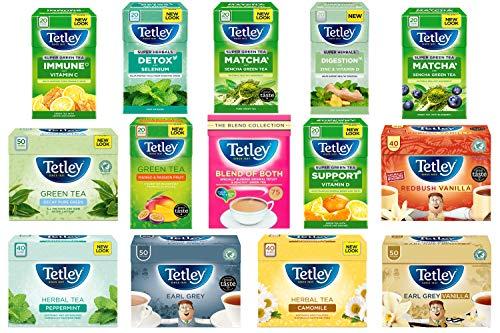 TETLEY Tea Bags - Earl Grey, Super HERBALS, Herbal, Green Tea Mixed Variety Packs (Any 3 Boxes)
