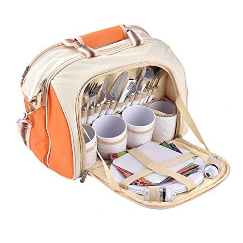 QAVILFLY Bolsa de picnic, amplia bolsa de picnic abierta para 4 personas, juego de picnic para 4 personas, ideal para familias al aire libre, camping, picnic, esterilla de picnic gratis