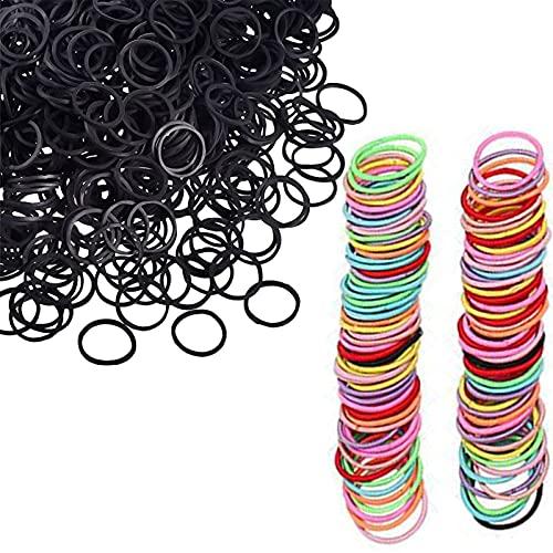 Juego de bandas elásticas de 1000 bandas de goma para el pelo de bebé negro + 300 bandas de pelo sin costuras de color caramelo multicolor