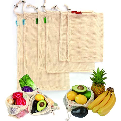 ilishop Reusable Produce Bags Cotton Mesh 6 Packs Washable Organic Grocery Bags for Shopping Vegetable Fruit Storage with Drawstring Mesh set of 6