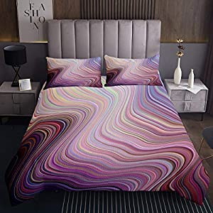 Erosebridal Tie Dye Coverlet Set Rainbow Tie Dye Bedding Set for Kids Girls Women Render Wavy Bedspread Abstract Swirl…