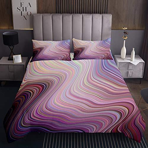 Erosebridal Tie Dye Coverlet Set Rainbow Tie Dye Bedding Set for Kids Girls Women Render Wavy Bedspread Abstract Swirl Curve Quilt Bedroom Decor with 2 Pillow Cases Queen Size Purple Blue