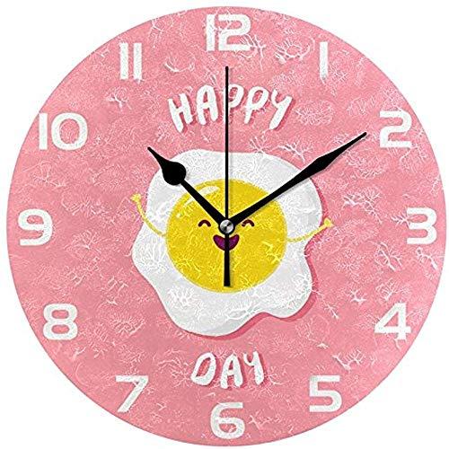Desconocido 0 Reloj de Pared de acrílico Redondo con Forma de Huevo Frito con Sonrisa de cartón Animado, Reloj de Pared Decorativo silencioso para Pintura al óleo para Oficina en casa