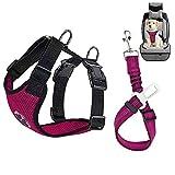 Lukovee Dog Safety Vest Harness Seatbelt, Dog Car Harness Seat Belt Adjustable Pet Harnesses Double Breathable Mesh Fabric Car Vehicle Connector Strap Dog (Large, Rose Red+Rose Red Seatbelt)