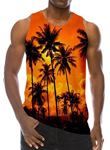 Loveternal Herren Sommer Kokospalme Westen Gedruckt Tank Top Casual Workout Ärmelloses T-Shirts S