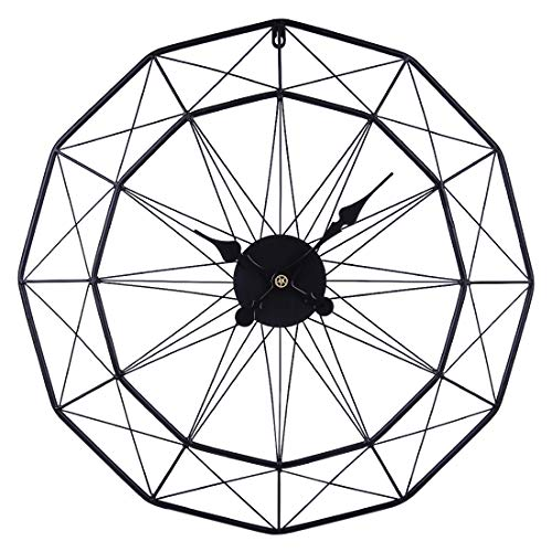 iVansa Grande Reloj de Pared, 60cm XXXL Reloj de Pared Silencioso de Hierro, Reloj de Pared Vintage Decorativo para Cocinas, Dormitorios, Oficinas, Sala