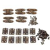 5piezas Anticuarios de antigüedades de antigüedades cerrojo de puerta de gabinete cerrojos decorativos con 10pcs retro puerta bisagras