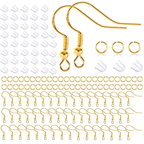 50 ganchos de plata de ley, hipoalergénicos, para hacer joyas, pendientes, pendientes, joyas, paquete de material de oro amarillo, hecho a mano, para hacer hongos blancos.