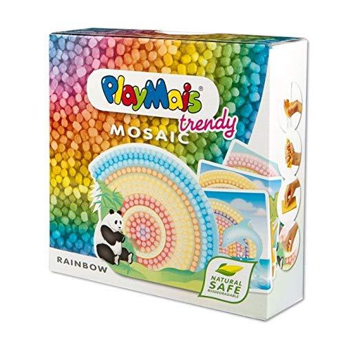 PlayMais TRENDY Mosaic Rainbow Kreativ-Set zum Basteln für Kinder ab 8 Jahren | Über 3.000 Stück & 6 Mosaik Klebebilder mit Regenbogen | Fördert Kreativität & Feinmotorik | Natürliches Spielzeug
