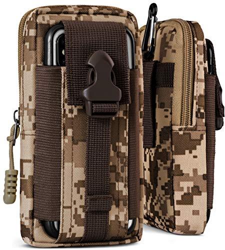 OneFlow® Multifunktionale Outdoor Handy-Tasche aus Oxford Nylon für alle Wiko Modelle | Universal - mit Gürtel-Halter & Karabiner, Camo-Braun (Camouflage)