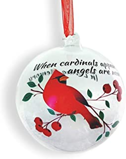 Memorial Cardinal Christmas Ornament - LED Lighted Glass Ball Ornament with Cardinal Design - When Cardinals Appear Angels are Near - In Loving Memory