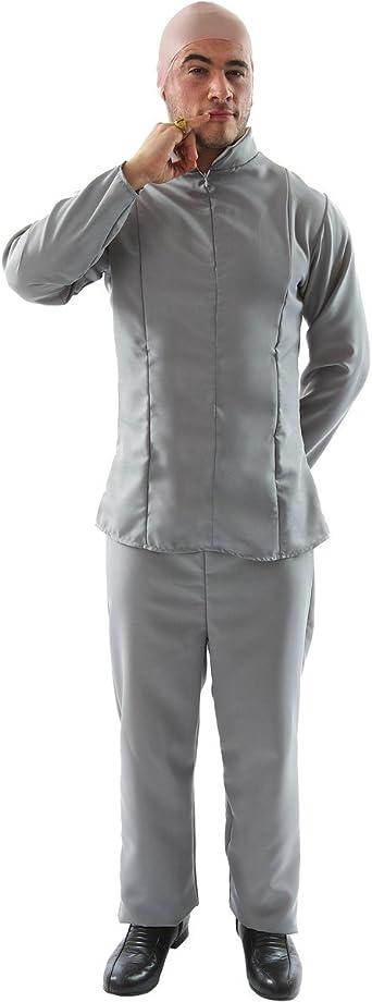 ORION COSTUMES Disfraz del Dr. Maligno de los años 70 Traje Gris de Película para Hombres