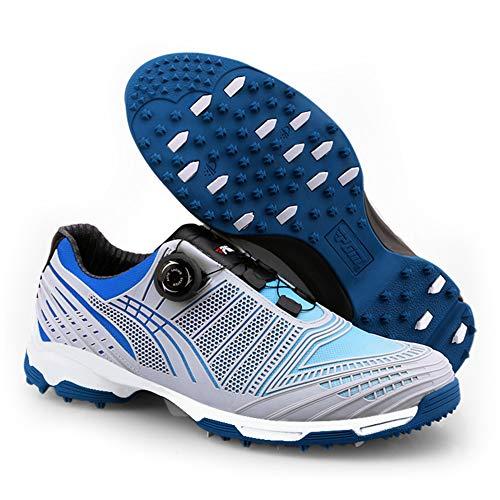 AUZZO HOME PGM Herren Golfschuhe 3D Breathable Lightweight Mesh Waterproof Sneakers Schuhe mit rutschfesten Schuhspikes und BOA Rotating Shoelace Laufschuhen Sneakers,Blau,45