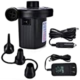 WATMAID Electric Air Pump for Inflatables 2 in 1 Portable Air Mattress Pump,110V AC/12V DC, Inflator/Deflator Pumps with 3 Nozzles for Inflatable Cushions, Boats, Swimming Pool, Vacuum Storage Bag