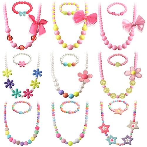 18 Piezas Collares y Pulseras de Cuentas Collar de Colores de Juego de Niños Joyería Princesa de Cuentas Disfraces de Fiesta para Niños Pequeños