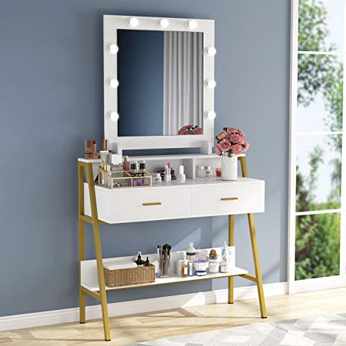 Lowest Prices! Tribesigns Vanity Table with Lighted Mirror, Makeup Vanity Dressing Table with 9 Ligh...