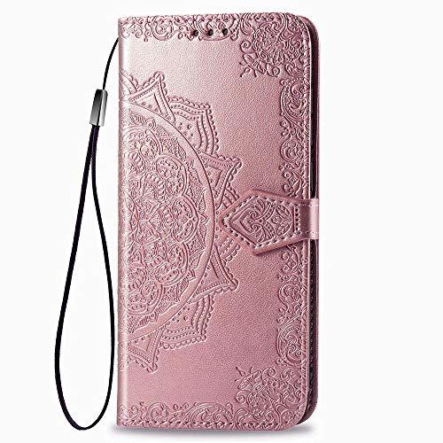 LAGUI Compatible für Motorola One Action Hülle, Schönes Muster Brieftasche Lederhülle (Silikonhülle, 3 Kartenfach, Ständerfunktion, magnetische Verschluss), Roségold
