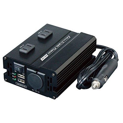 メルテック 車載用 DCDCコンバーター デコデコ 静音タイプ 3way(USB&コンセント&アクセサリーソケット) DC24V コンセント2口150W USB2口4A DC12V1口60W Meltec HDC-150