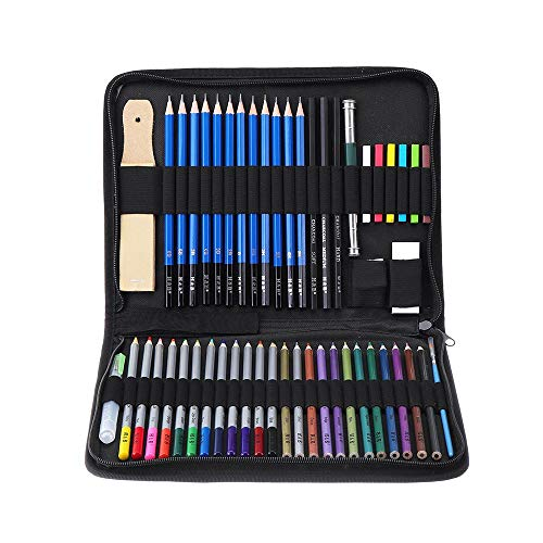 HXiaDyG Buntstifte Kinder 51pcs Wasserlösliche Colored Blei Malzubehör Kunst-Briefpapier Anzug Malerei Bleistift Set Skizze Buntstifte Malerei Buntstifte (Color : Multi-Colored, Size : 51pcs)