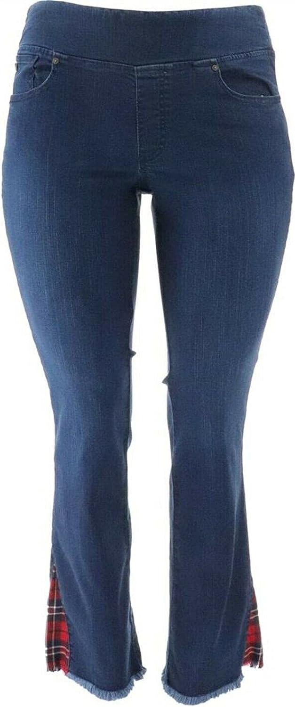 Belle Kim Gravel TripleLuxe Denim Tartan Inset Jeans Dark Indigo 22W New A386457