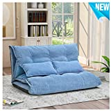 Foldable Floor Couch Lounge, Norcia Adjustable 45' Thicken Floor Sofa Bed with 2 Pillows, Sleeper Sofa Chair Chaise Loveseat Futon Cushion Seating for Bedroom and Living Room