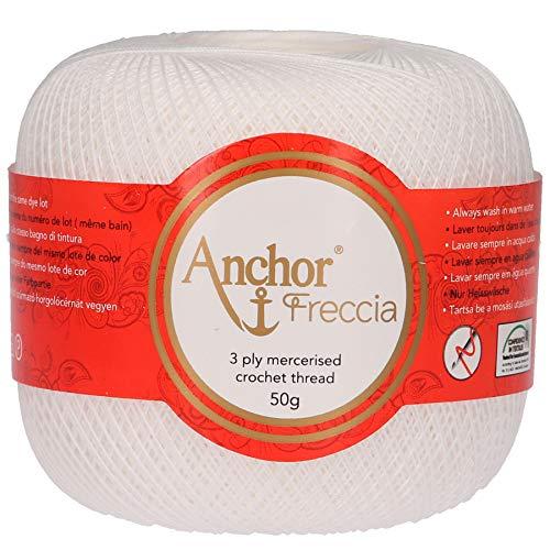 Anchor Freccia Stärke 20 4771020-07901 weiß Häkelgarn, 100 % Baumwolle