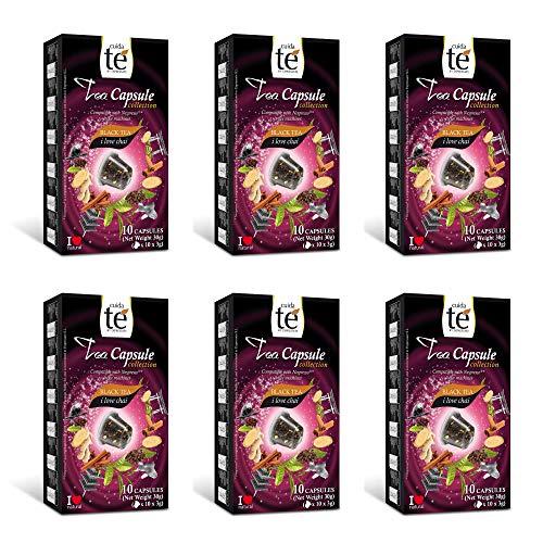 CUIDA TÉ - Té Nego Cápsulas Nespresso, Té Negro Chai, Compatibles con Máquinas Nespresso, 60 Cápsulas Té Negro Chai
