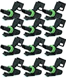 Delphi Packard (2 Circuits) Female 2-Contact Tower Half Body Connector (Pack of 12), Female Weatherpack, Waterproof,