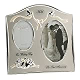 Two Tone Silverplated Wedding Anniversary Gift Photo Frame - '30th Pearl Anniversary'
